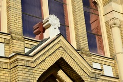 Star Of David, also called Shield Of David or Magen David, placed above main entrance of Synagogue in Nitra, Build during years 1908 and 1911, it is a melange of Moorish, Byzantine and Art Nouveau.