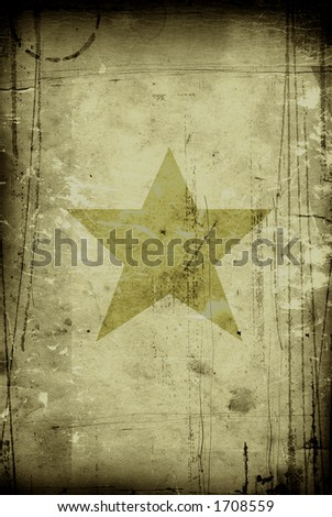 star on old, grunge vintage paper