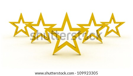 star rating with five stars representing symbol and concept of competition success and best quality