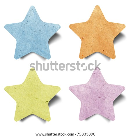 star recycled paper craft  stick on white background