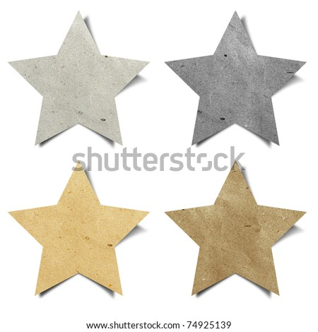 star recycled paper stick on white background
