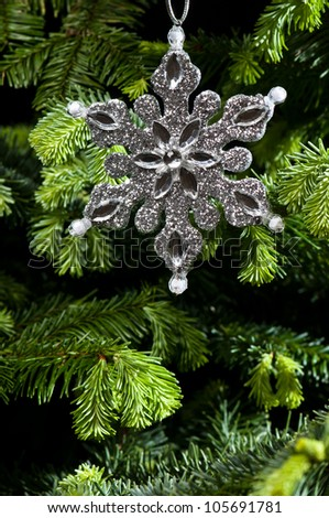 Star shape Christmas ornament, silver in color, in fresh green Christmas tree