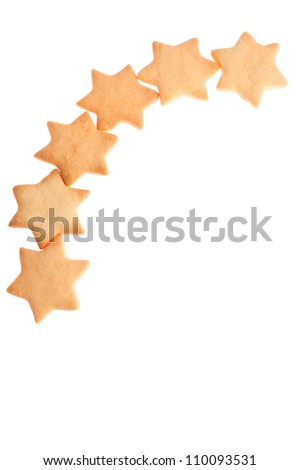 Star shape homemade cookies isolated on white background