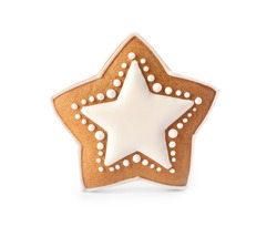Star shaped Christmas cookie isolated on white