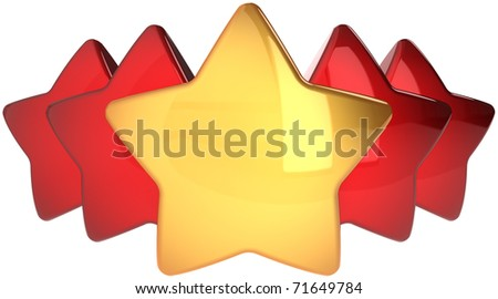 Star shapes one golden four red. Leadership winner success concept. The best choice abstract. This is a detailed render 3d cgi (Hi-Res). Isolated on white background