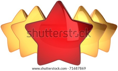 Star shapes one red four golden. Leadership champion success concept. The best choice abstract. This is a detailed render 3d cgi (Hi-Res). Isolated on white background