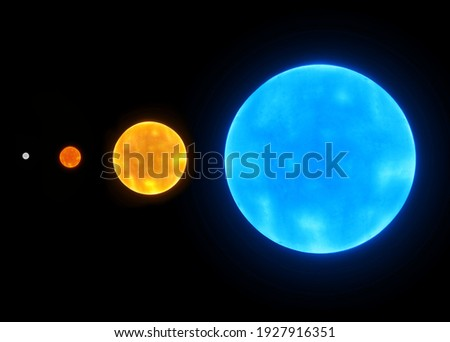 Star size comparison. Blue star, yellow star, red dwarf and a white dwarf on a black background Photo stock ©