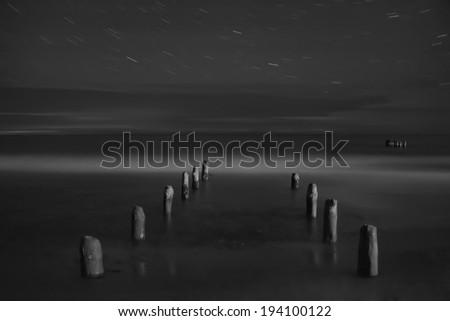 Star tracks on a dark night sea