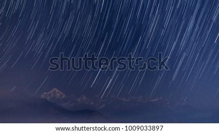 Star Trail, Panchachuli Peak from Munsiyari, Uttarakhand, India