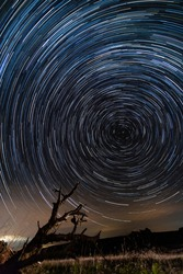 star trail spinning around the pole star, at night, in the field