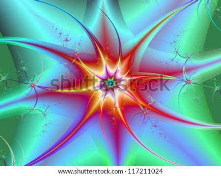Star Trails/Digital abstract image with a strings of stars design in orange, blue, red and green.