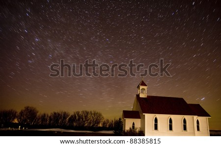 Star Trails Night Shot Church Canada