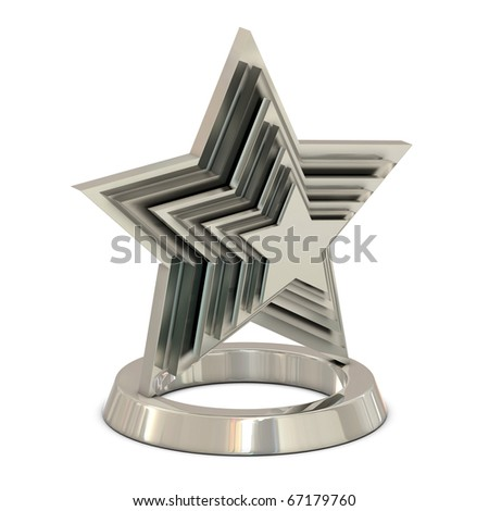 Star trophy silver - glass isolated on white
