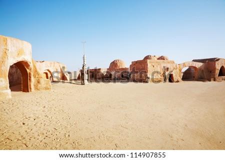 Star wars decoration in Sahara desert