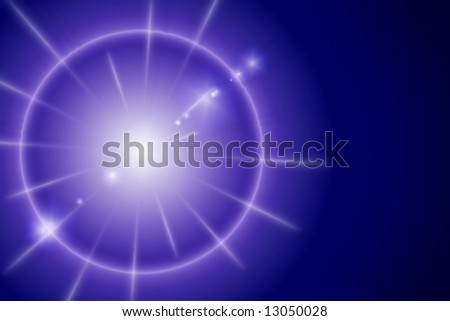 Star with flare on a dark blue background