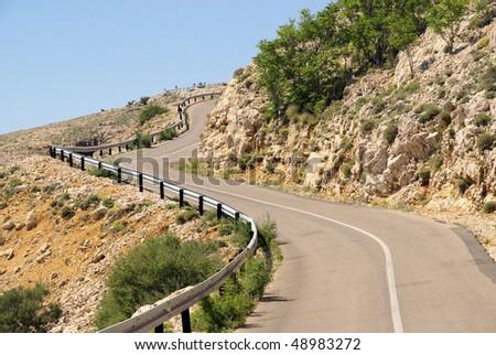 Stara Baska coast road - stock photo