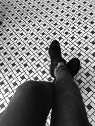 Starbucks Chicago Interior. Sitting by the Black and white tiles at Starbucks.