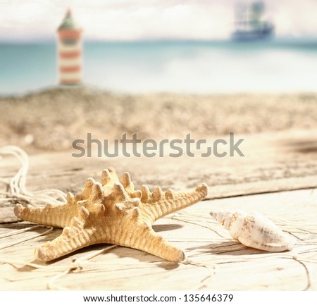 Starfish and a seashell lying in the hot summer sun on old wooden boards at the seaside with a beach and lighthouse visible behind, shallow dof