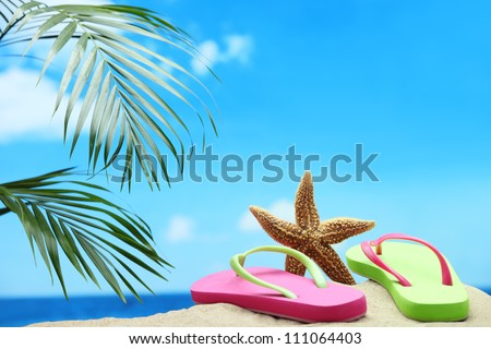 Starfish and flip-flops on sand beach.