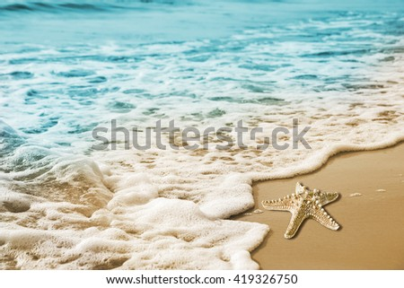 Stock Photo Starfish and soft wave on the sandy beach