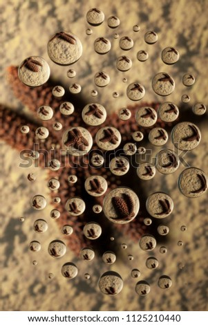 Starfish appears in water drops on a sandy background using Water Drop Refraction. Drops appear suspended above the background and refracted image. Vertical, color. #1125210440