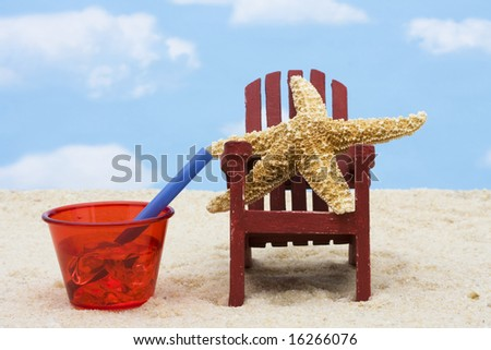 Starfish in an Adirondack chair sitting in the sand on the beach, summer vacation