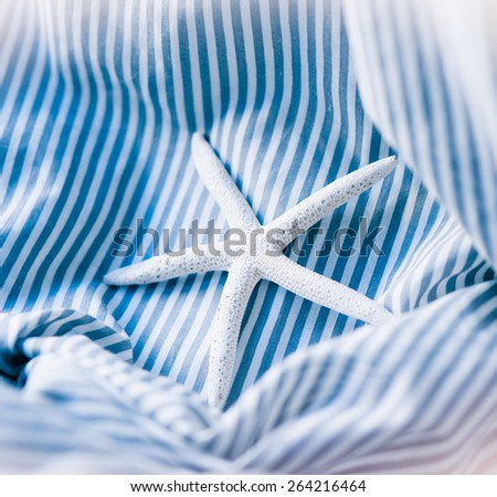 starfish on a blue striped background