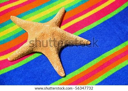 Starfish on a pretty striped beach towel