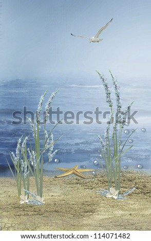 starfish on the beach with flowers and bubbles - stock photo