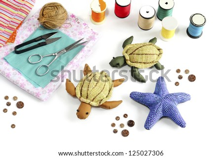 Starfish, turtle doll made of cloth.