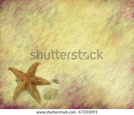 starfish with old grunge antique paper texture