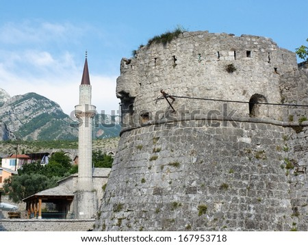 Stari Bar Fortress and minaret of mosque, Montenegro