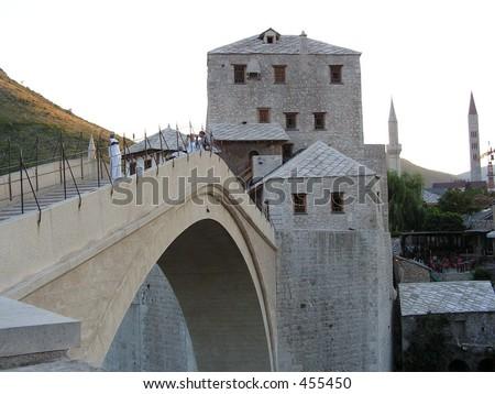 stari most - Halebija Tower-cut stone bearing masonry 1566 - UNESCO site - stock photo