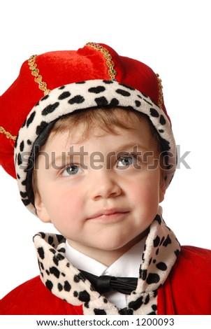 staring boy in costume
