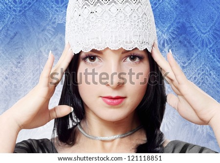 Staring Young Woman Fashion Chic Studio Portrait - stock photo