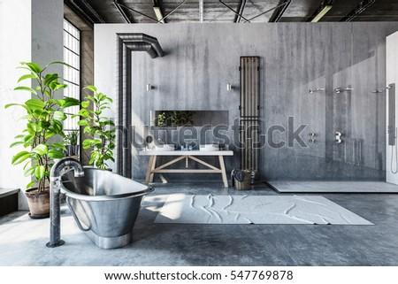 stark gray bathroom interior of ...