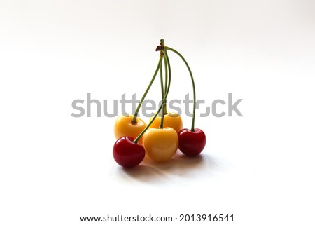 Starks Gold cherries and red cherries on a white background. Photograph of organic yellow and red cherries. Copy space. Stock photo ©