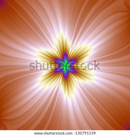 Starlight / Digital abstract fractal image with a six pointed star design in white, pink, yellow and blue.