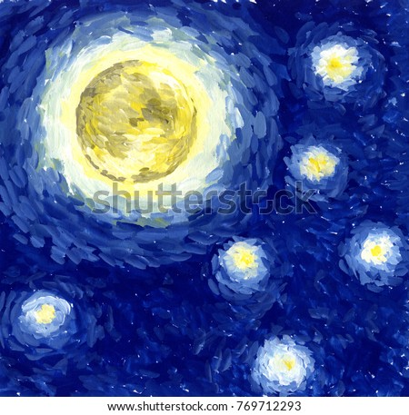 Starlight Night. Background, illustration, painting in the style of Van Gogh