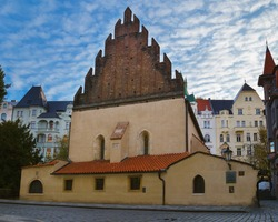 Staronova synagoga. The old new synagogue in Prague in the Czech Republic. Prague's Jewish quarter.