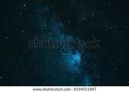 Starry blue night sky. The milky way.