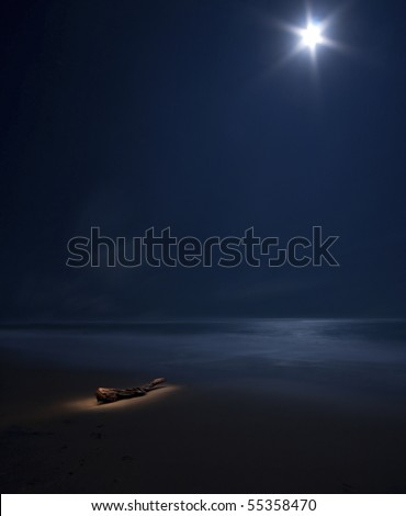 starry moon on night sea with beach and tree trunk painted with light