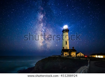 Starry night and Milky Way at Pigeon Point Lighthouse, Pescadero, California, USA