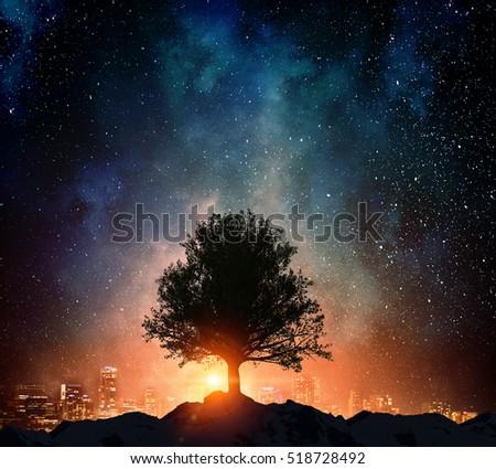 Stock Photo Starry night and tree . Mixed media