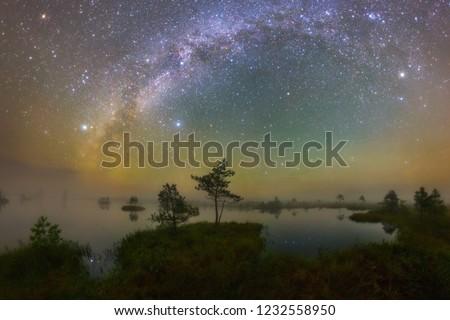 Starry night at Yelnya swamp, Belarus