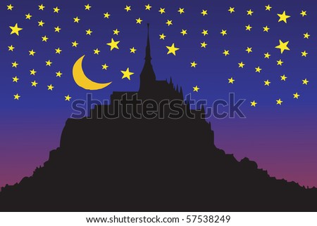 Starry Night in Mont Saint Michel in Normandy - France