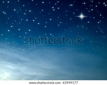 Starry night many bright star in blue sky