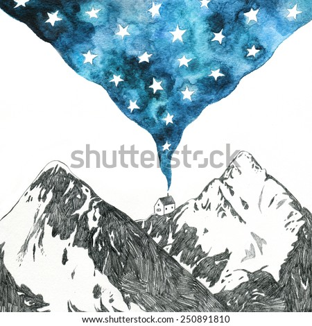 Stock Photo starry night - mountain landscape pencil and watercolor drawing