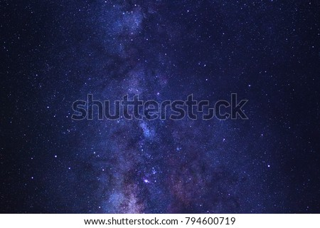 Starry night sky and milky way galaxy with stars and space dust in the universe #794600719