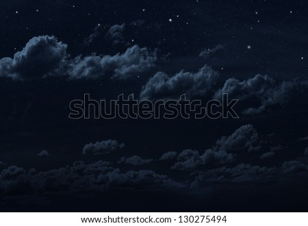 Starry night sky background. Blue colors